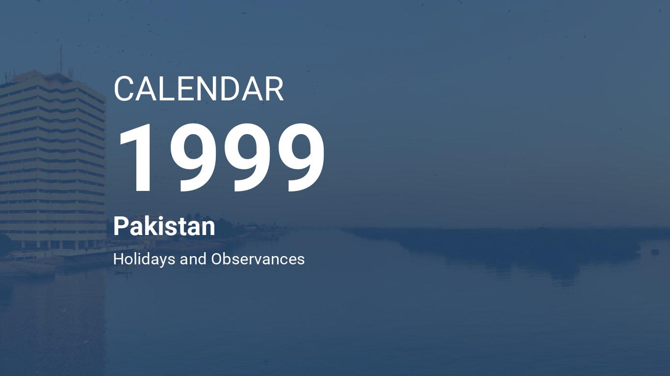 Year 1999 Calendar Pakistan