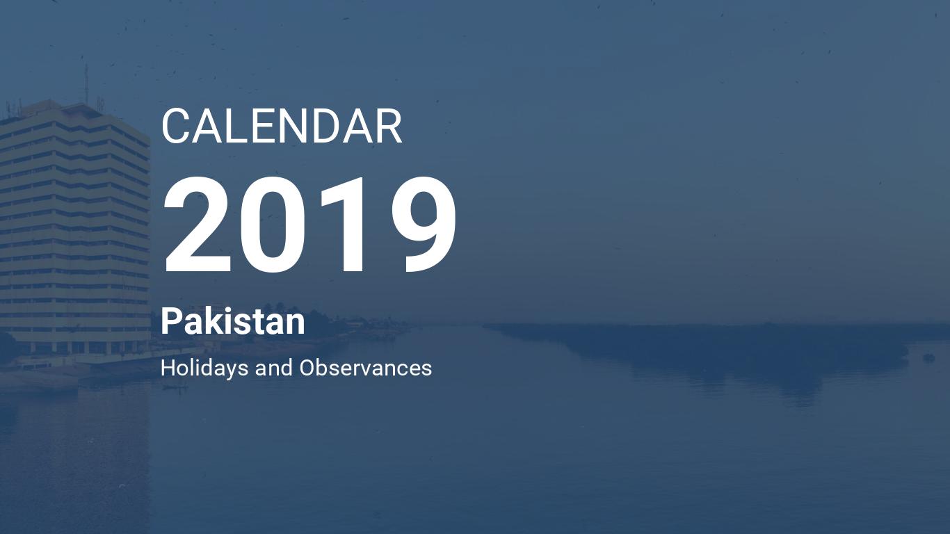Year 2019 Calendar – Pakistan