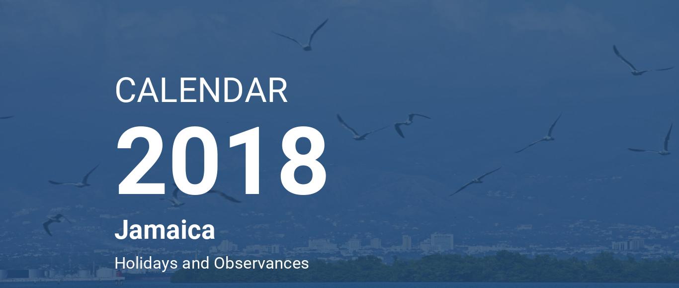 year 2018 calendar jamaica