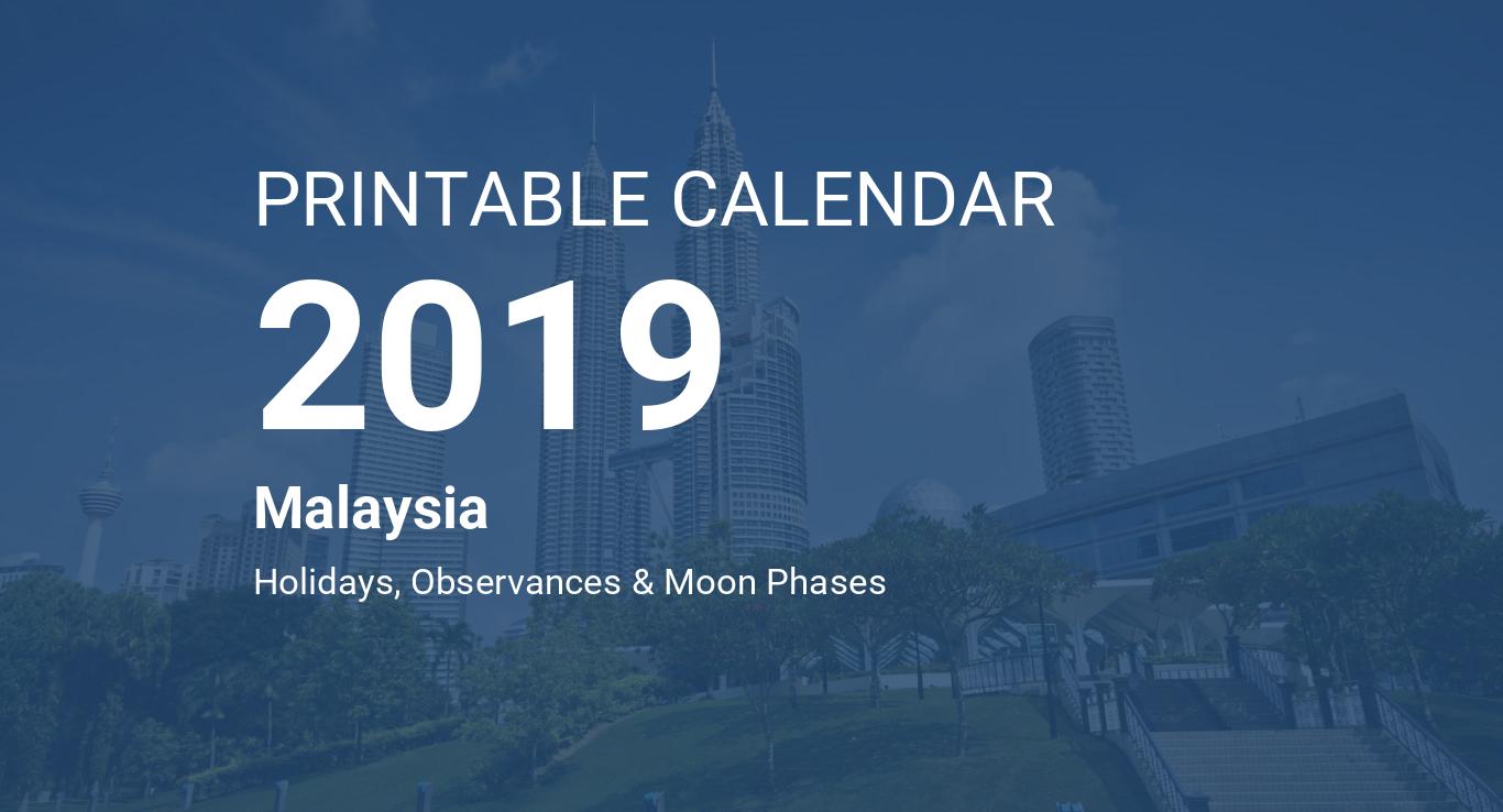 Printable Calendar 2019 for Malaysia (PDF)