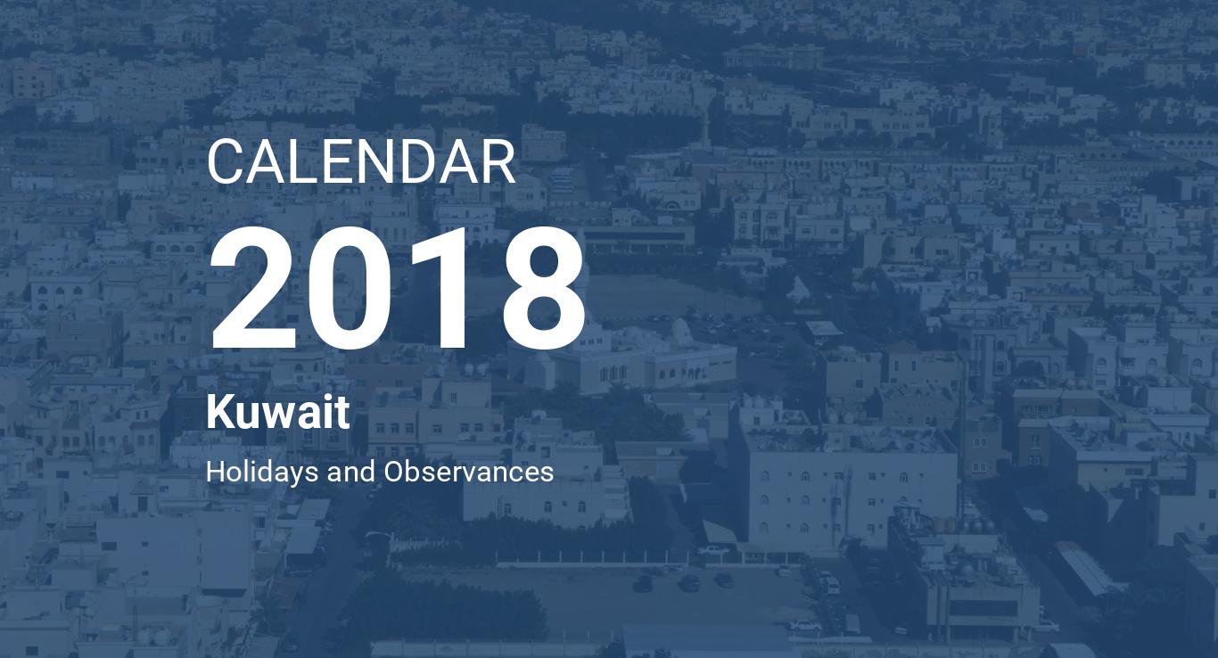 Year 2018 Calendar Kuwait