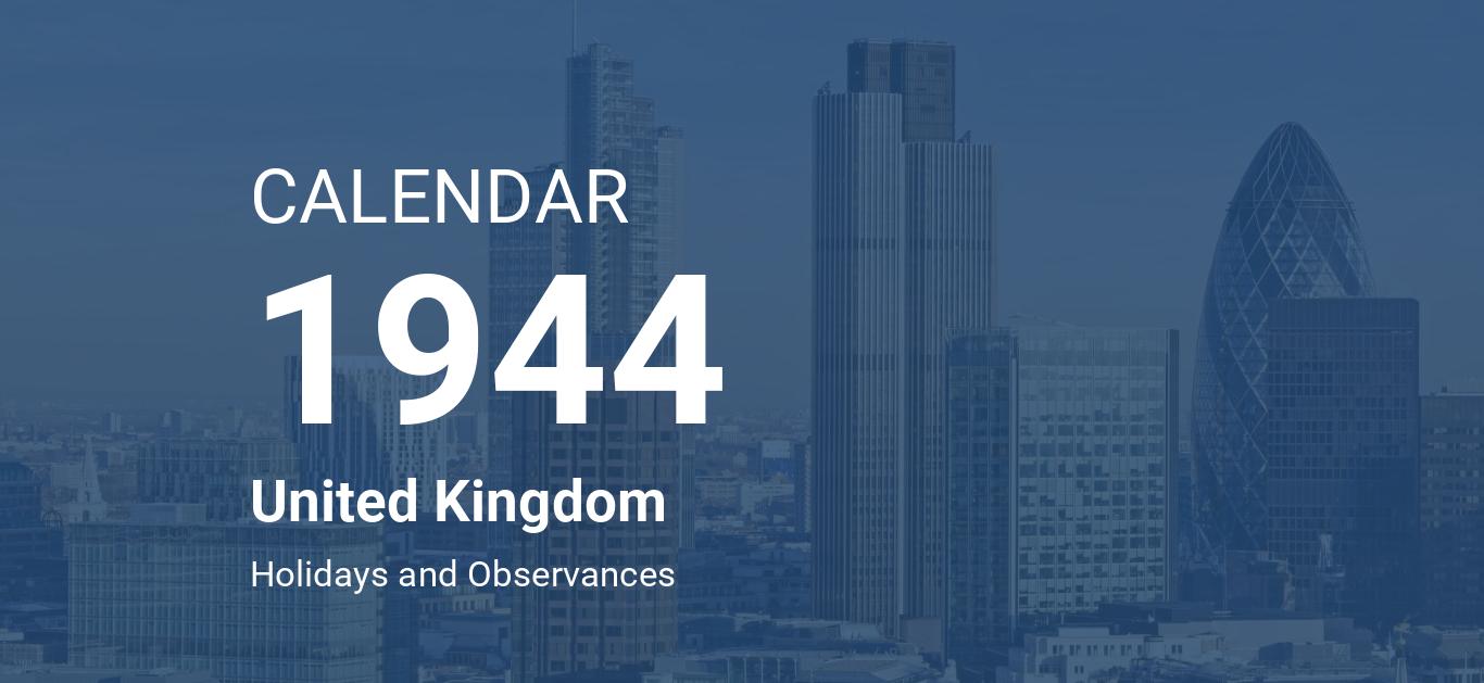 Year 1944 Calendar – United Kingdom