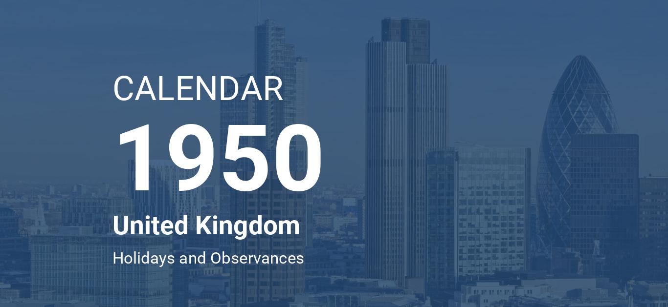 Year 1950 Calendar United Kingdom