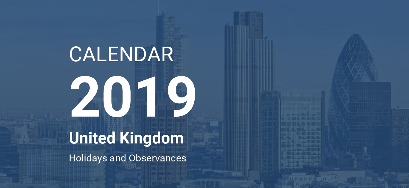 year 2019 calendar united kingdom