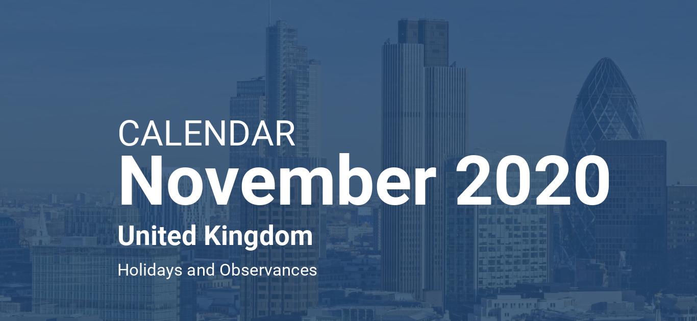 November 2020 Calendar – United Kingdom