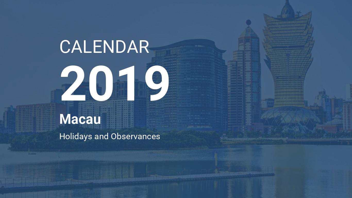 Year 2019 Calendar – Macau