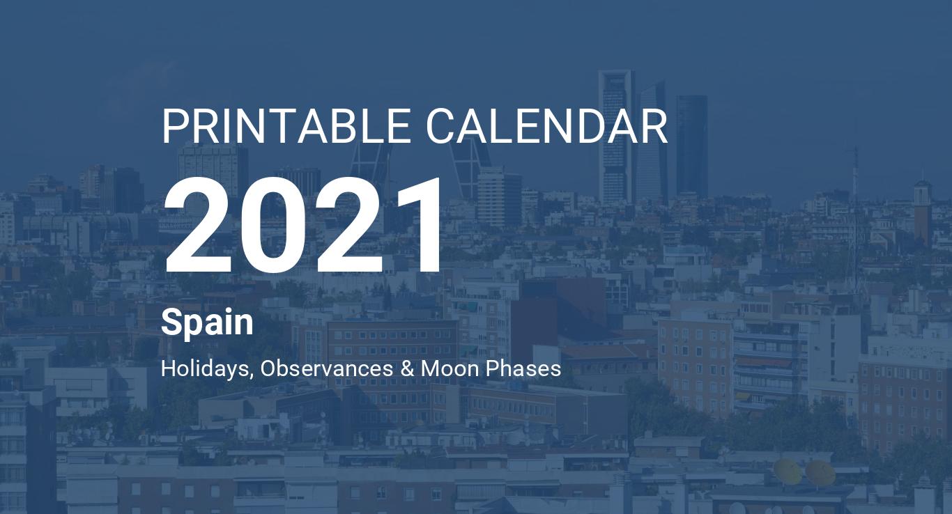 Printable Calendar 2021 for Spain (PDF)
