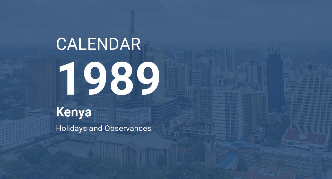 Year 1989 Calendar Kenya