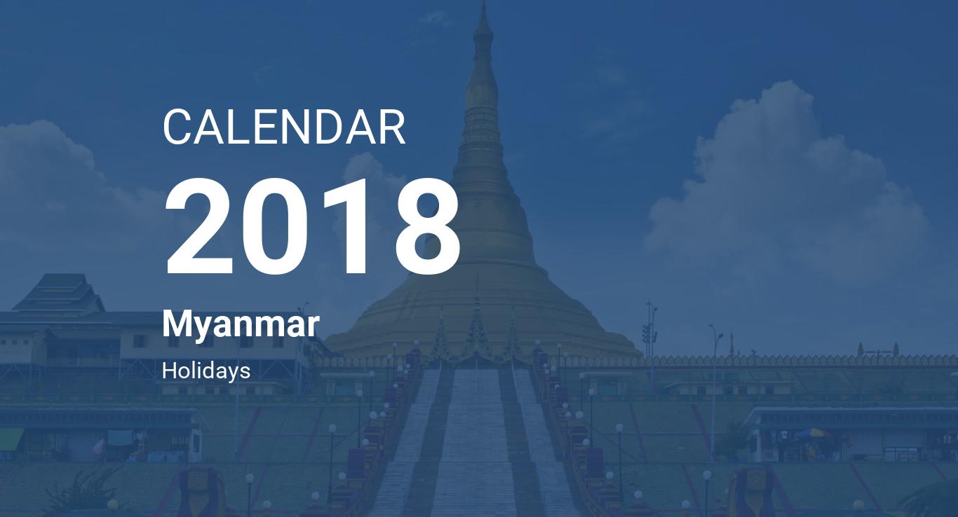 year 2018 calendar myanmar