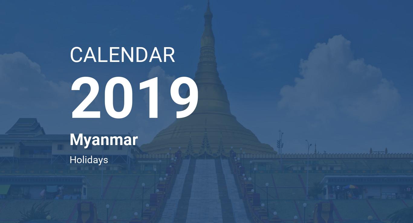Year 2019 Calendar – Myanmar