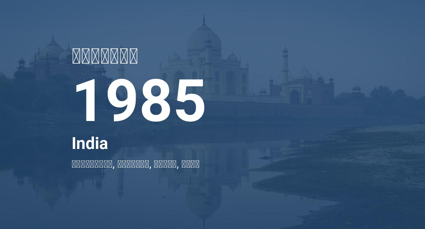 Year 1985 Calendar – India