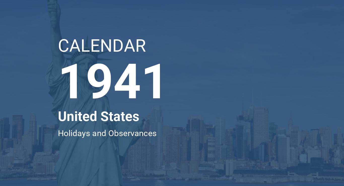Year 1941 Calendar – United States