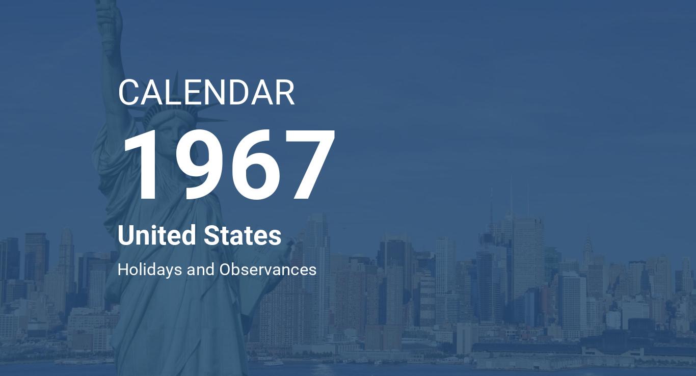 Year 1967 Calendar – United States