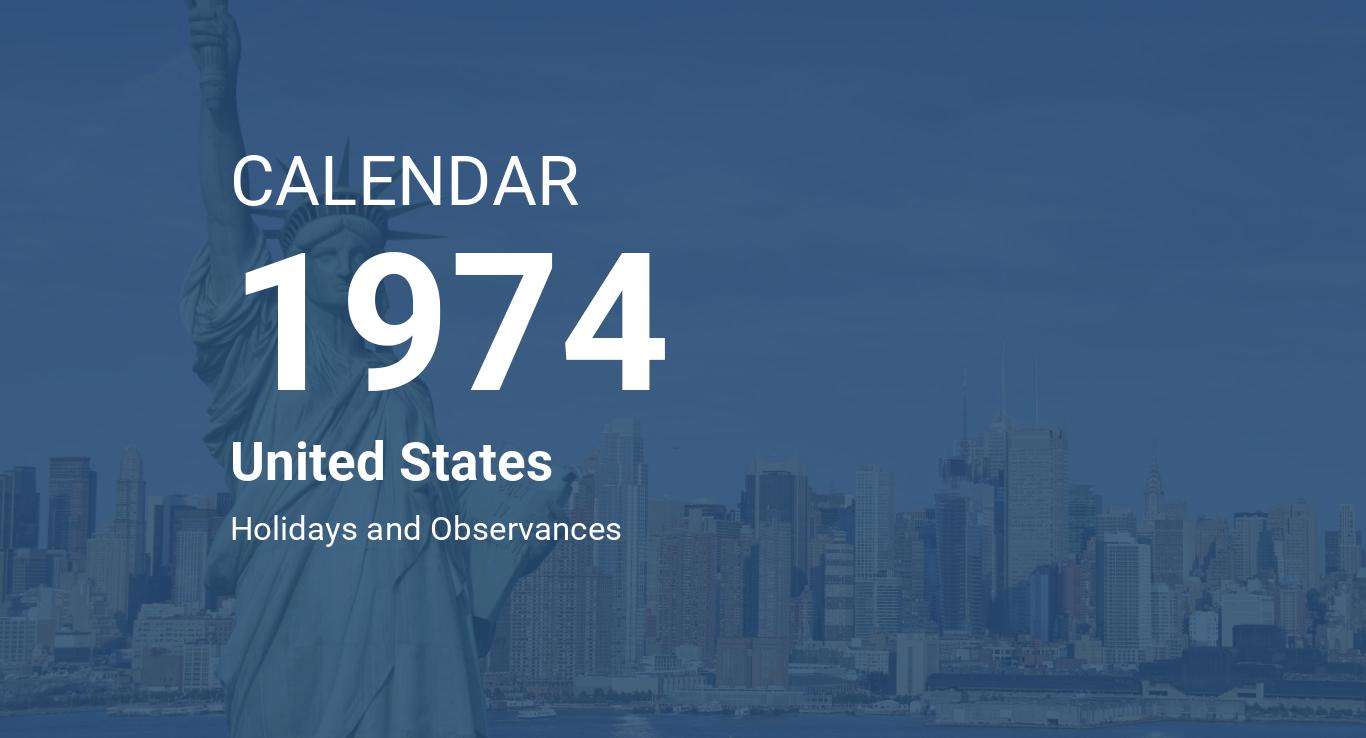 Calendario 1974.Year 1974 Calendar United States