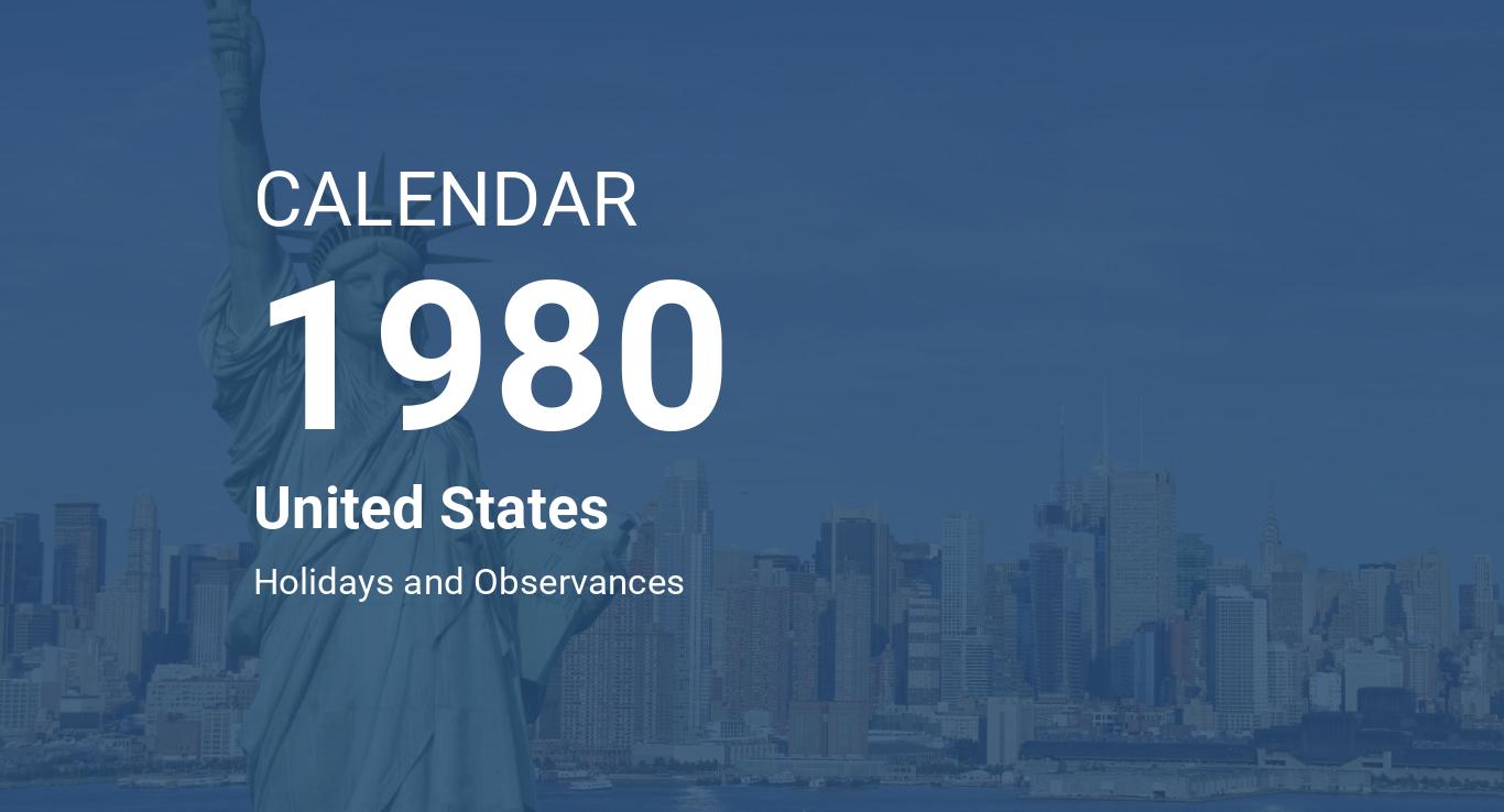 Year 1980 Calendar United States