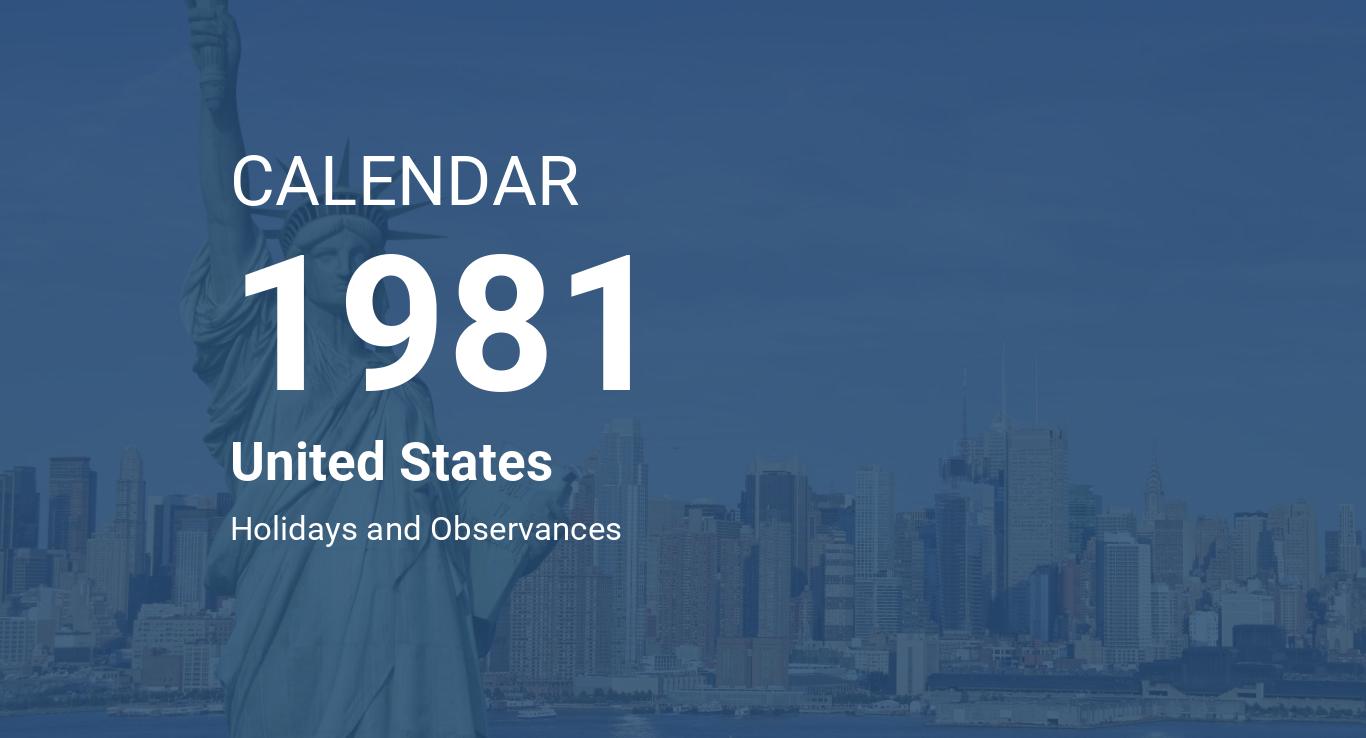 Year 1981 Calendar – United States