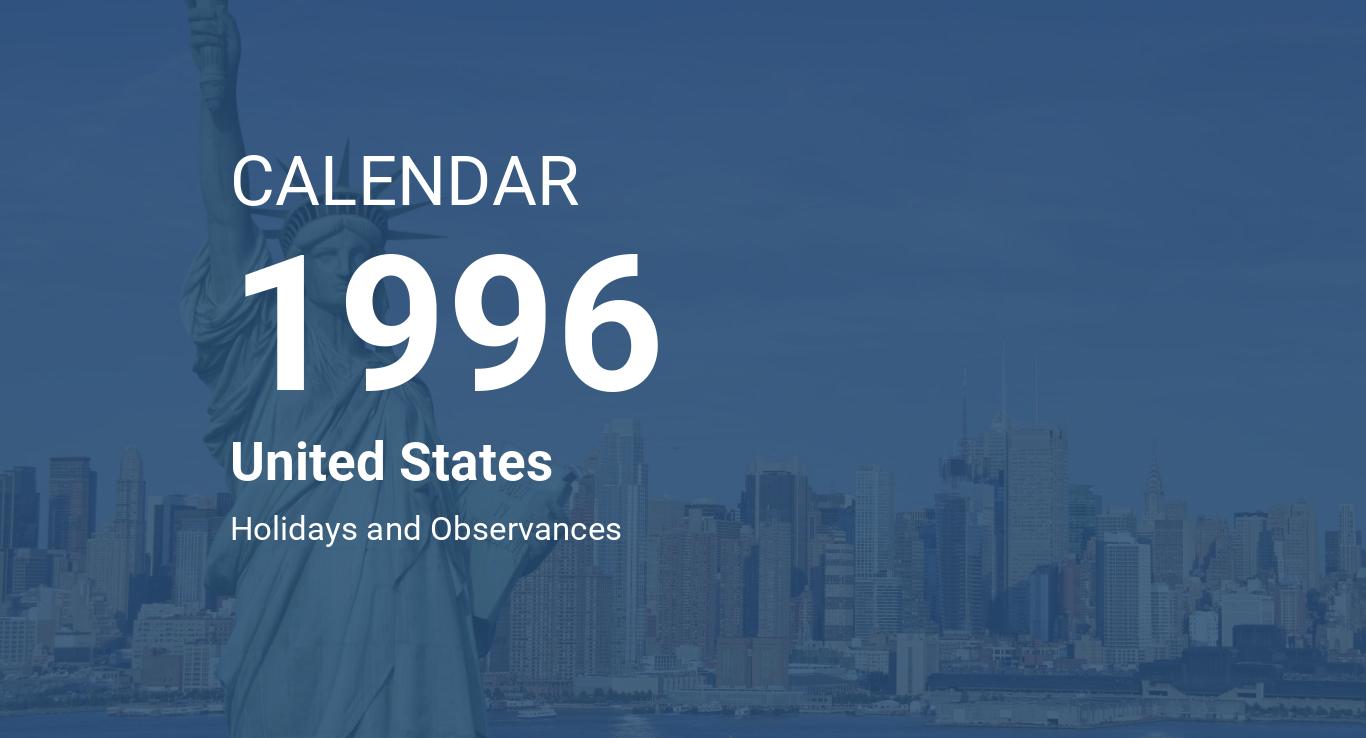 Year 1996 Calendar United States