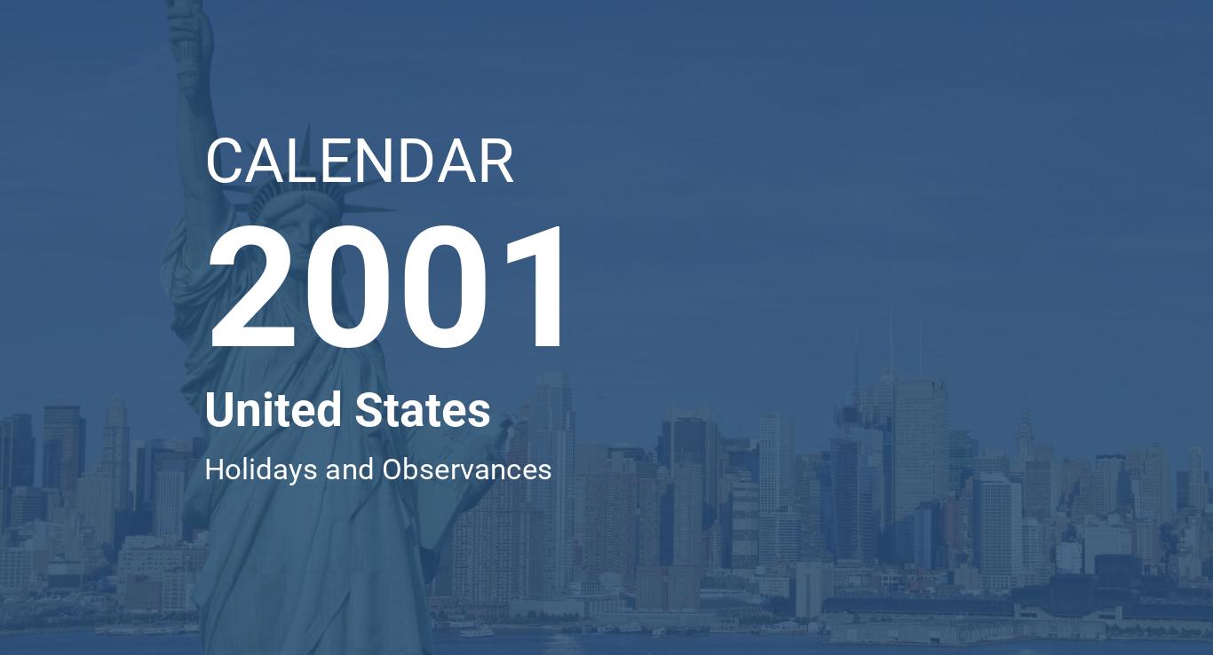Year 2001 Calendar – United States
