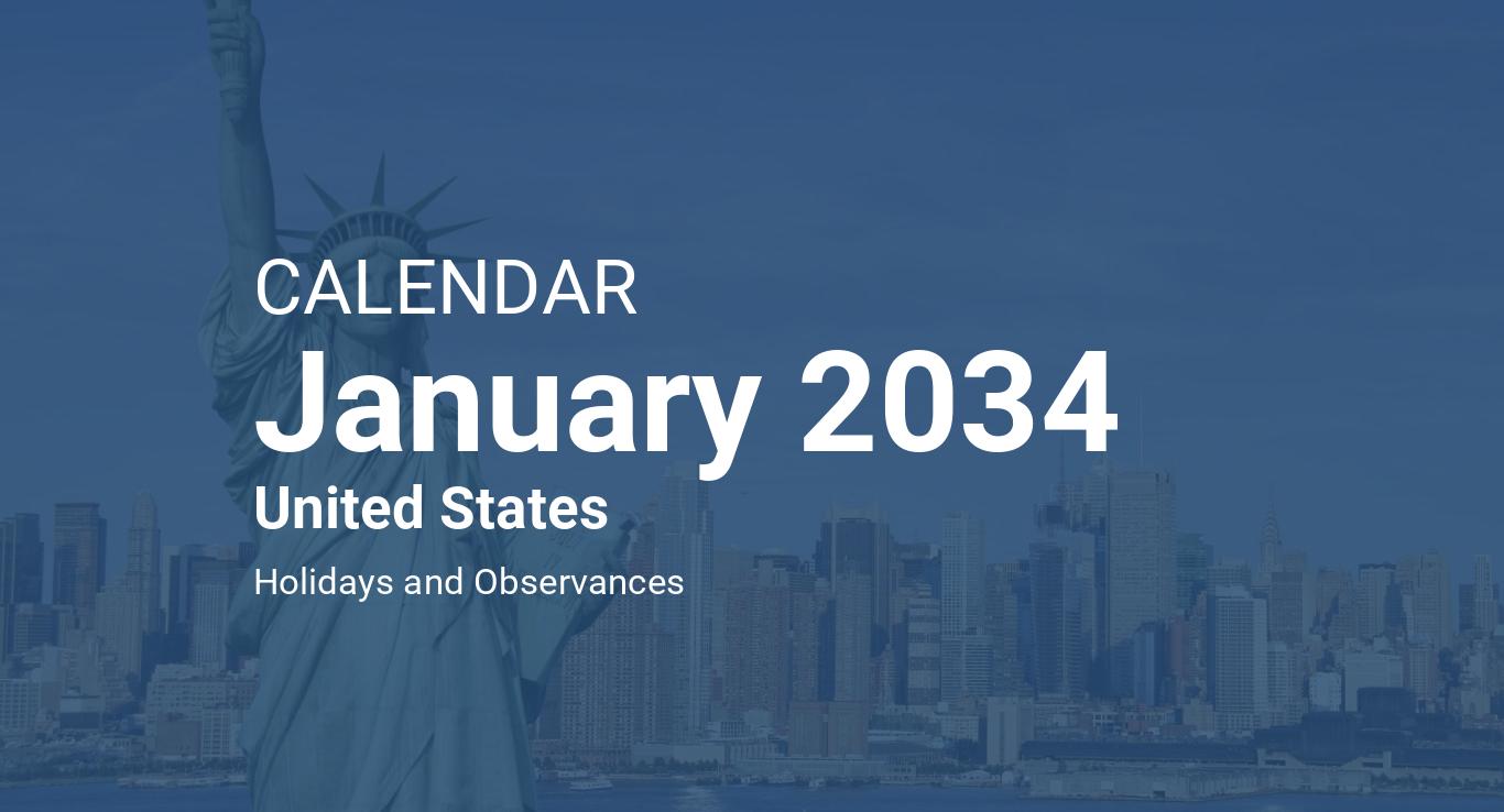 January 2034 Calendar – United States