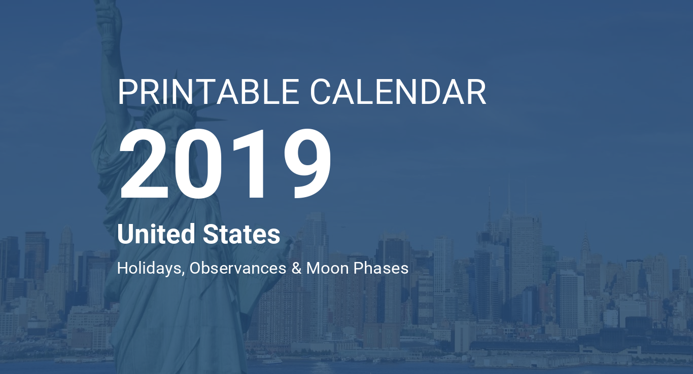 Time And Date February Calendar 2019 Printable Printable Calendar 2019 for United States (PDF)
