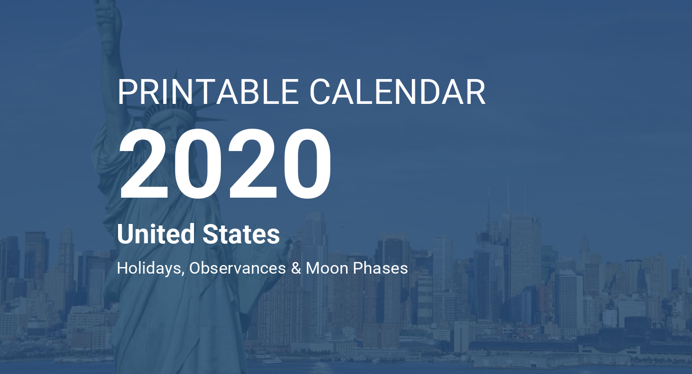 Printable Calendar 2020 For United States Pdf