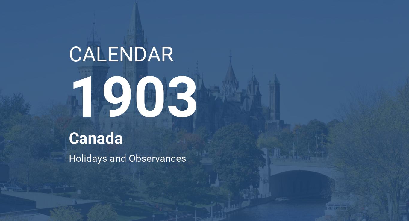 Year 1903 Calendar Canada