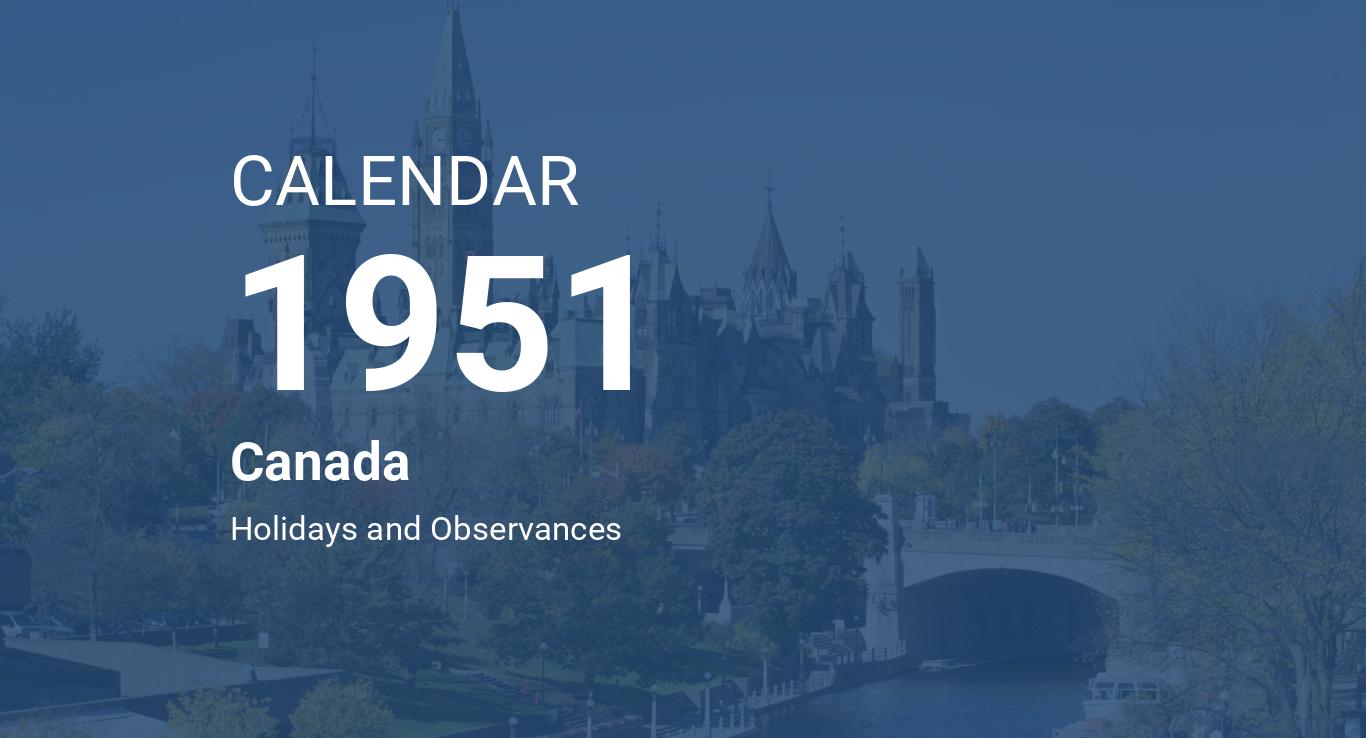 Calendrier 1951.Year 1951 Calendar Canada