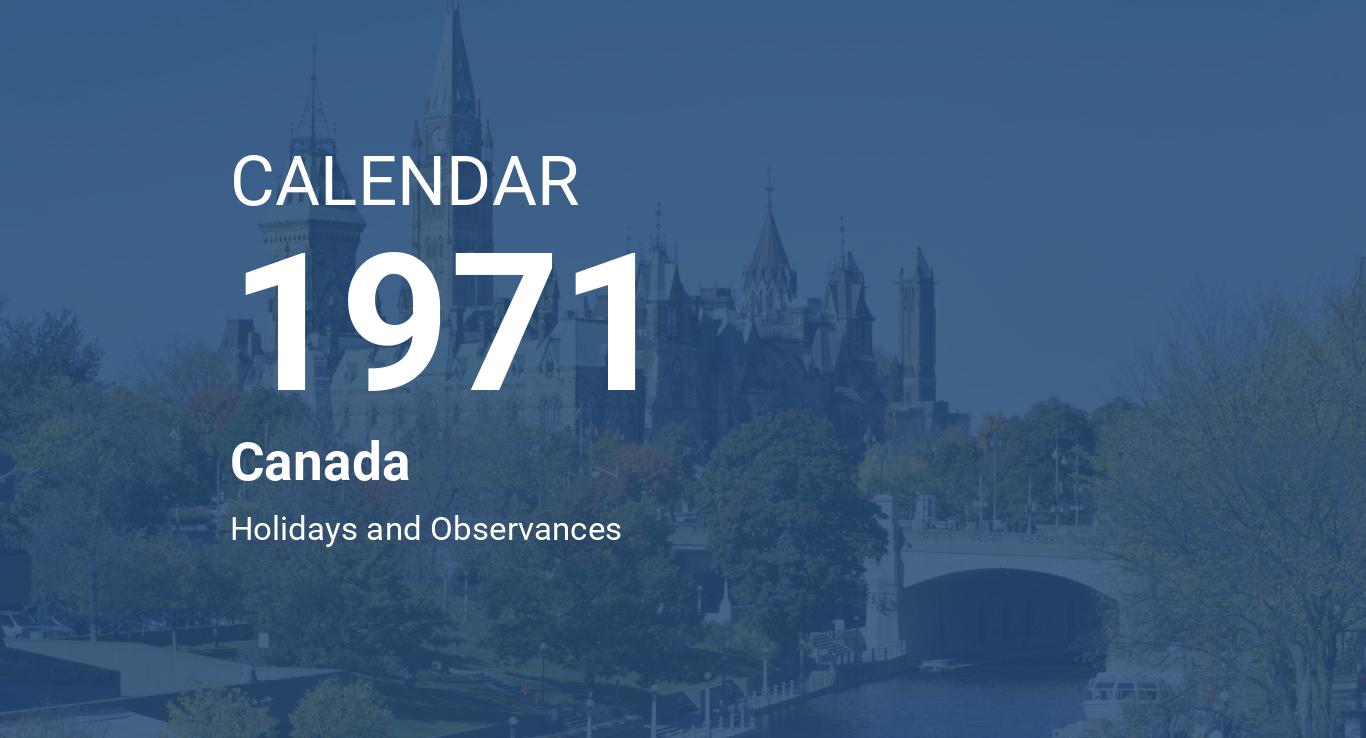 Year 1971 Calendar – Canada