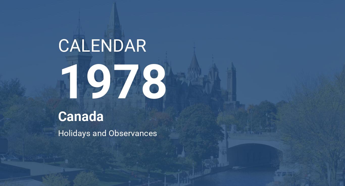 Year 1978 Calendar Canada