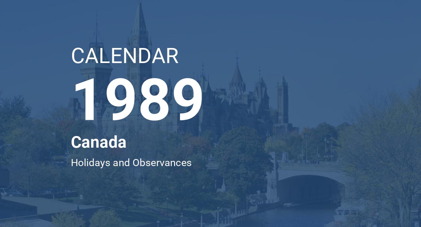 Year 1989 Calendar – Canada