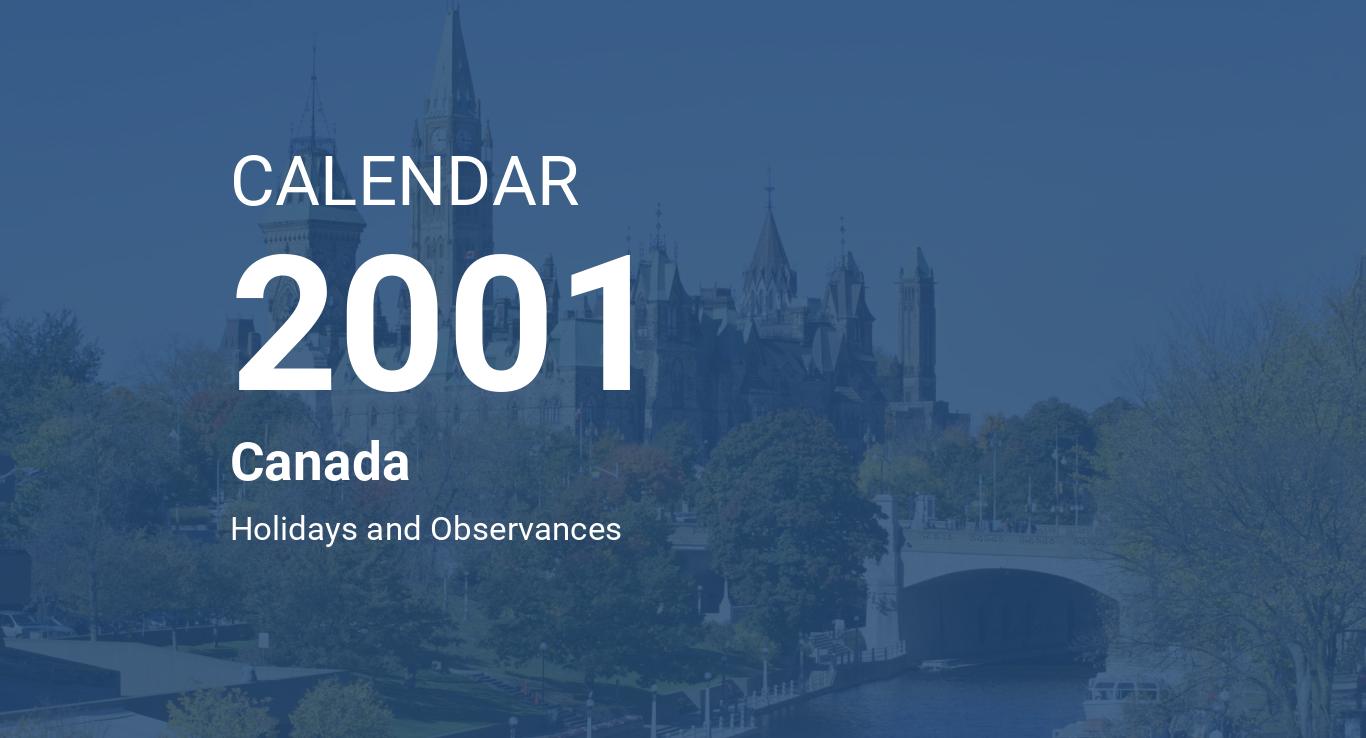 Year 2001 Calendar – Canada