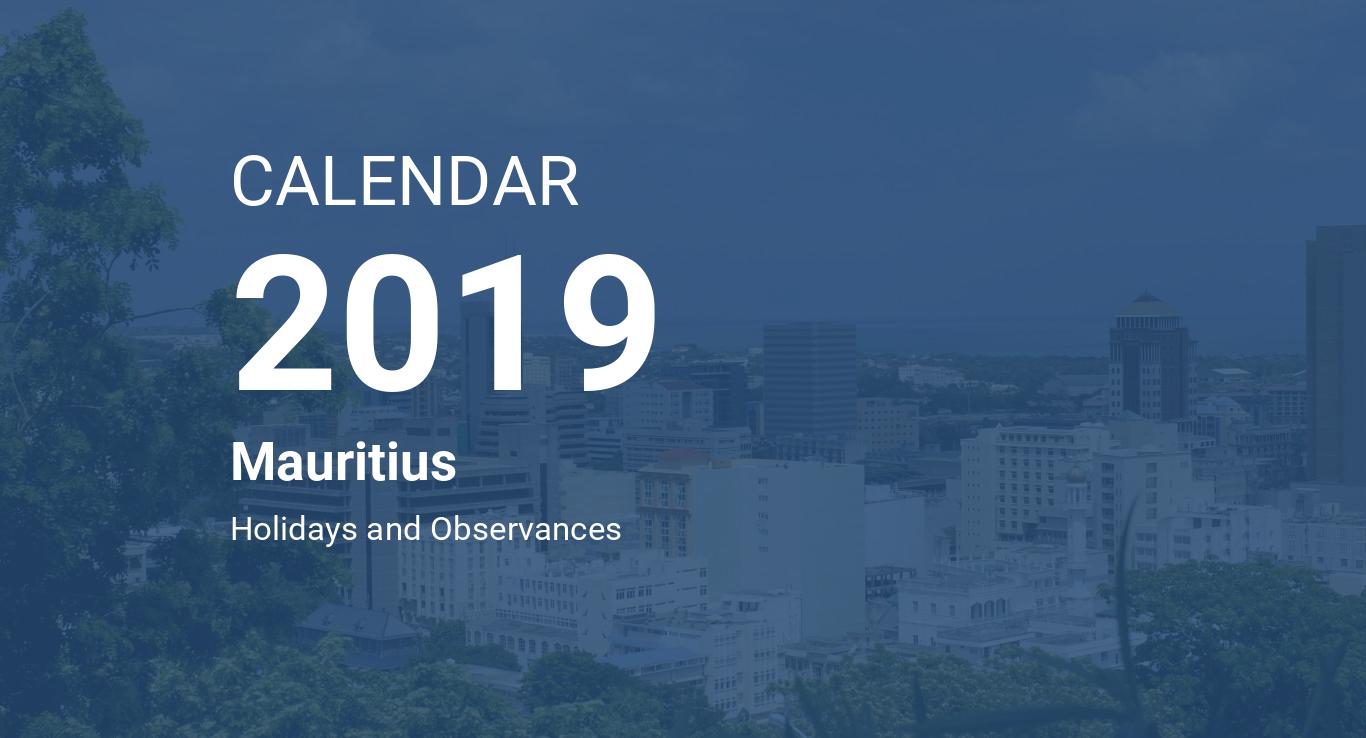 year 2019 calendar mauritius