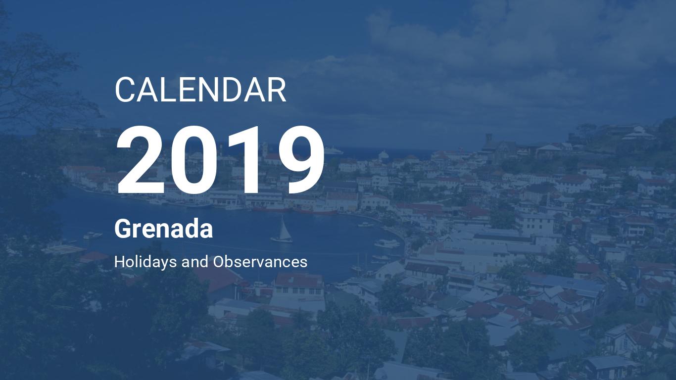 Year 2019 Calendar – Grenada