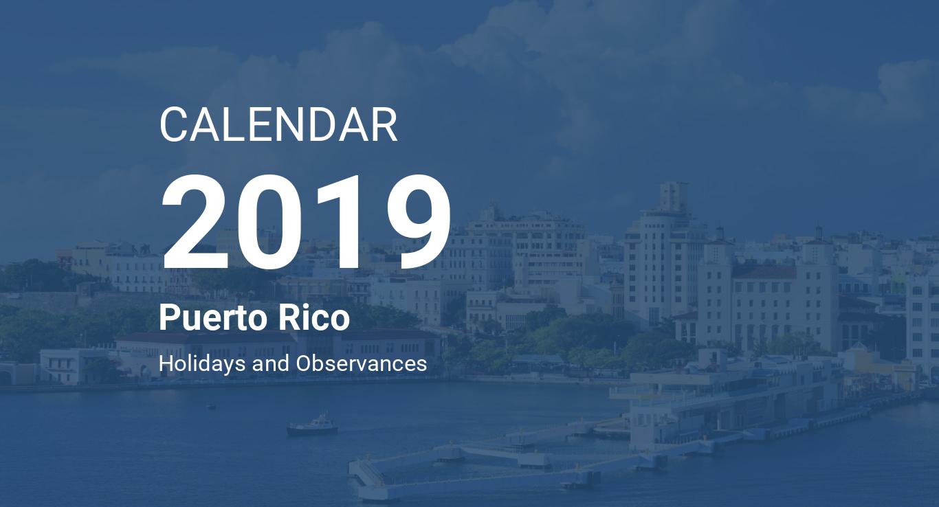 Year 2019 Calendar – Puerto Rico