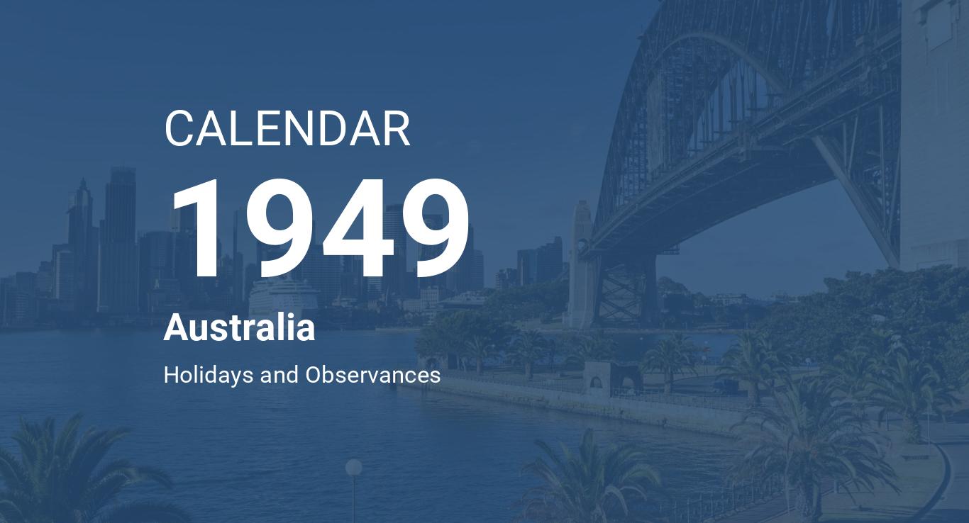 Year 1949 Calendar – Australia