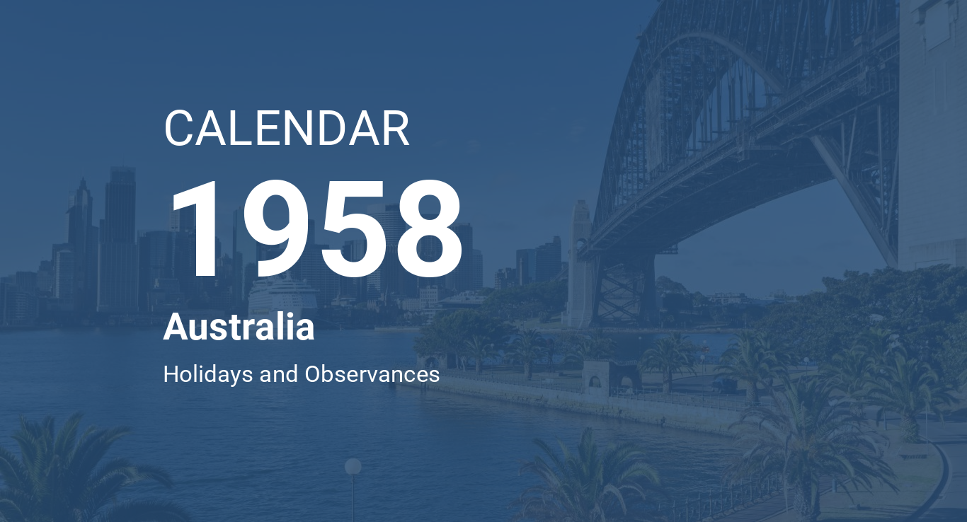 Year 1958 Calendar – Australia