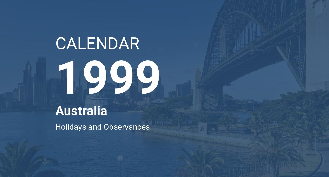 Year 1999 Calendar Australia