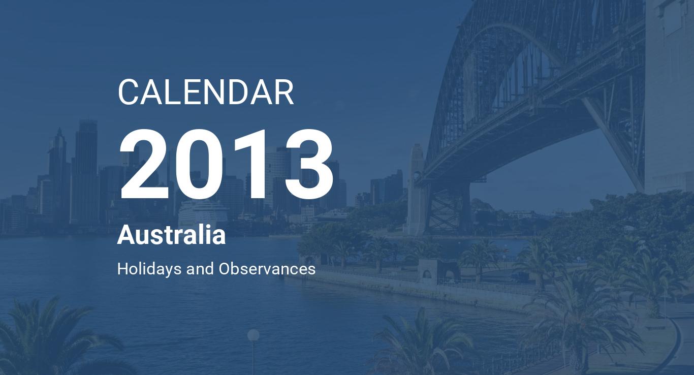 year 2013 calendar australia