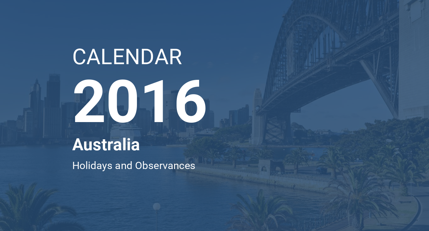 year 2016 calendar australia