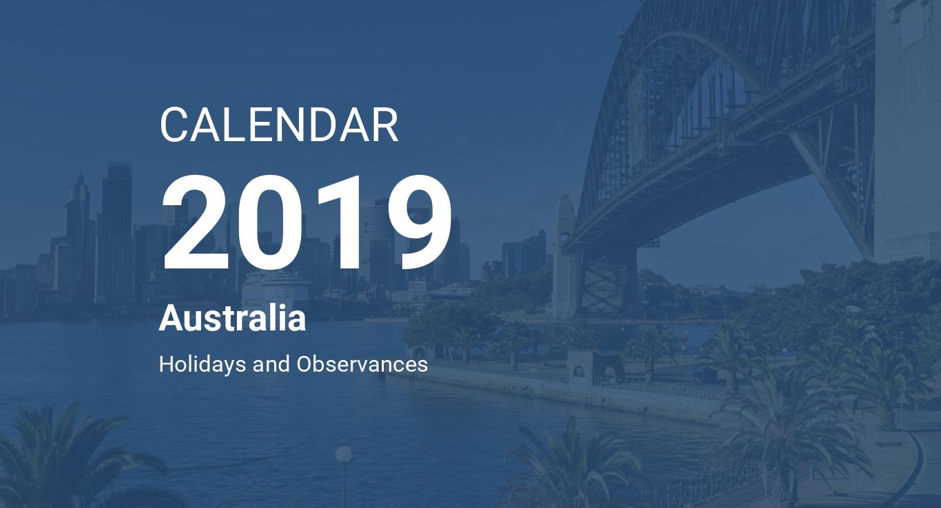 year 2019 calendar australia