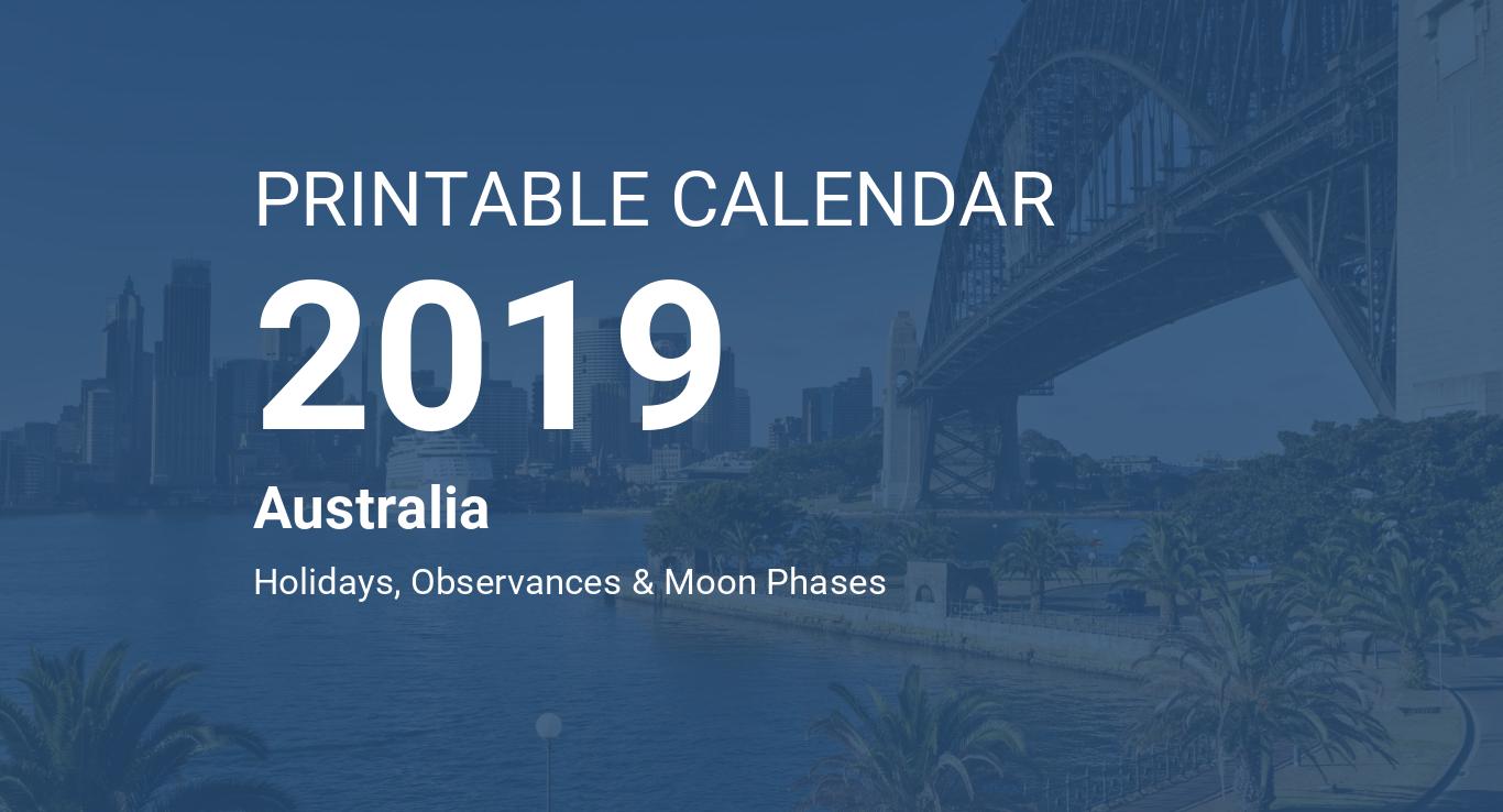 Printable Calendar 2019 for Australia (PDF)