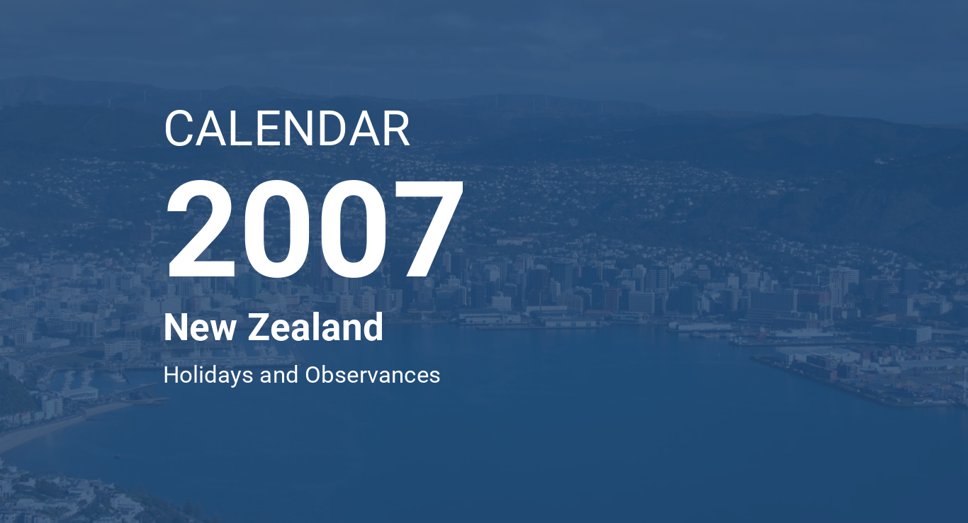 Year 2007 Calendar – New Zealand