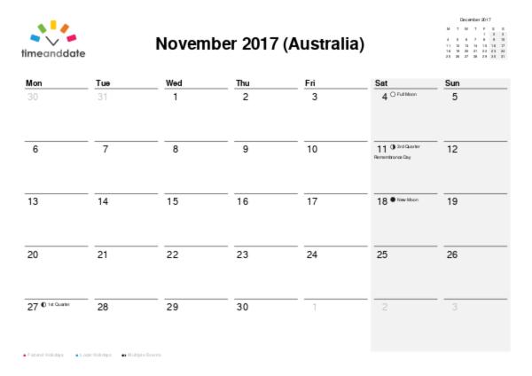 Printable Calendar 2017 for Australia PDF – Printable Calendar