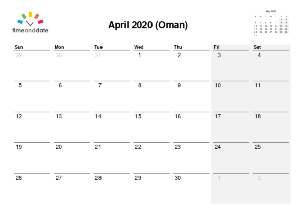 Calendar for 2020 in Oman