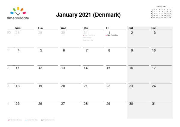 Calendar for 2021 in Denmark