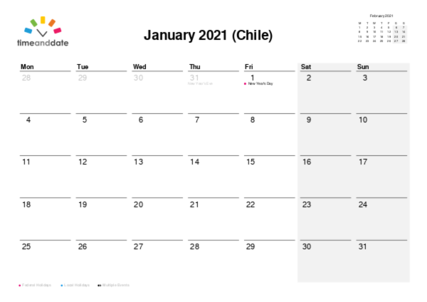 Calendar for 2021 in Chile
