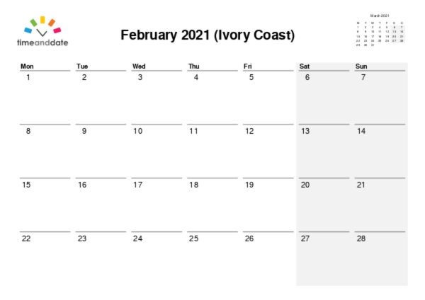 Calendar for 2021 in Ivory Coast