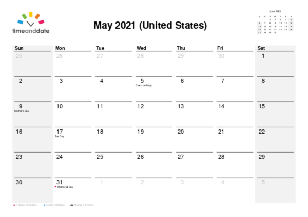 Printable Monthly Calendar — United States — May 2021