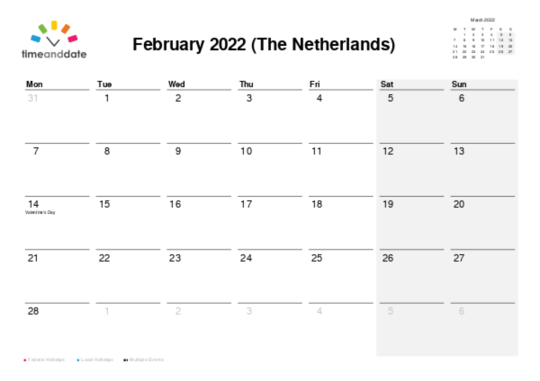 Calendar for 2022 in The Netherlands