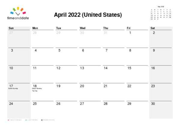 Calendar for 2022 in United States